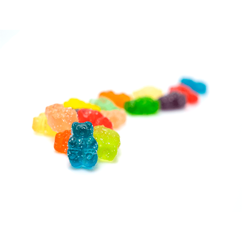Trail of assorted fruit flavored CBD gummies from Eden's Herbals