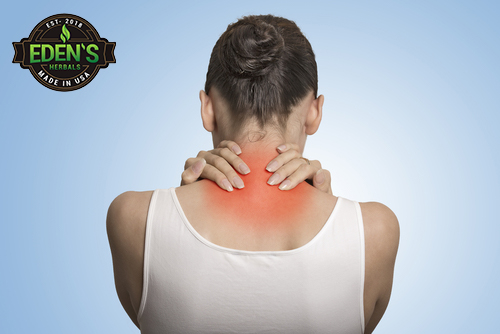Woman suffering from neck pain related to fibromyalgia
