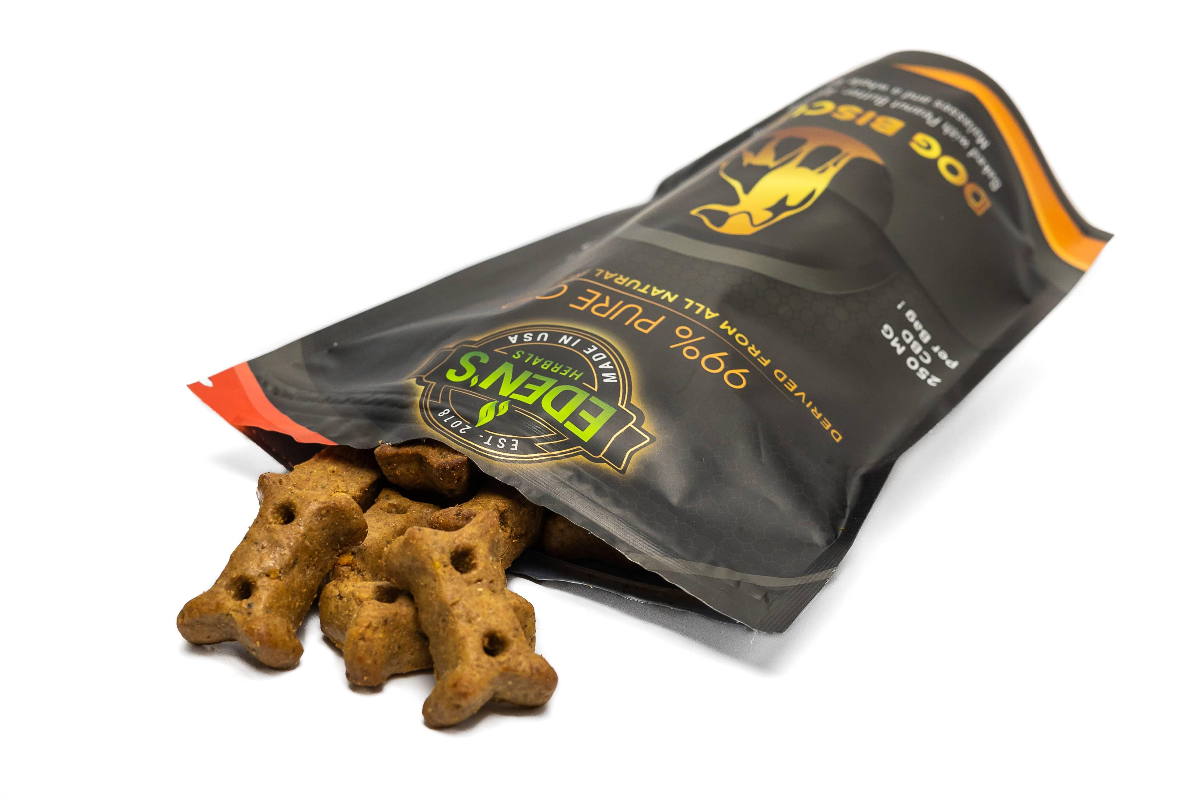 Bag of Eden's Herbals cbd dog treats  against a white background
