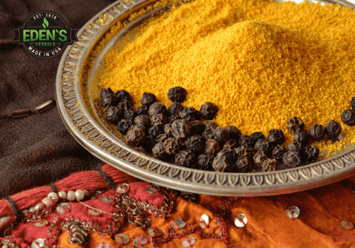 Black pepper and turmeric combined on a table