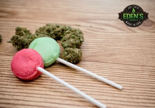 CBD infused lollipops on table