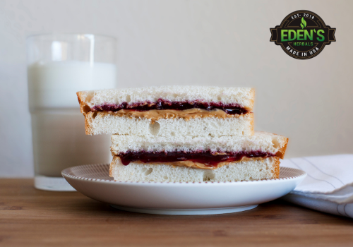 Sun butter and jelly sandwich for fat with milk for vitamins
