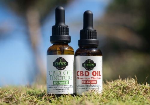 THC free cbd oil tinctures in unflavored and cinnamon displayed in natural setting