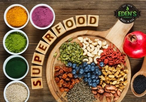 Various superfood combinations on table