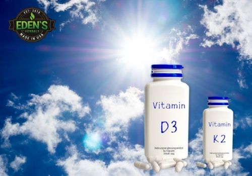 Vitamin D3 and K2 with sunny sky background