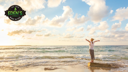 Woman standing on ocean shore practicing gratitude for holistic lifestyle